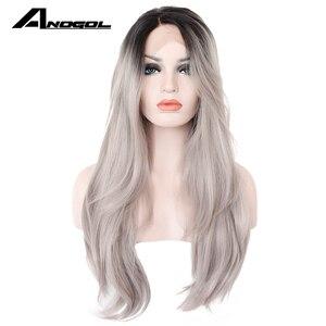Anogol parte média prata cinza ombre preto raízes onda longa natural peruca dianteira do laço sintético para mulher fibra de alta temperatura