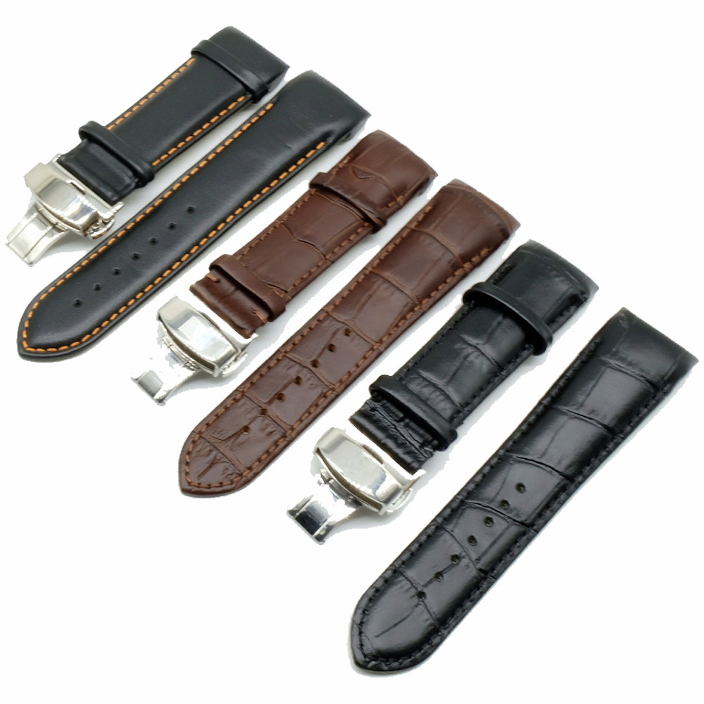 22 23 24mm For TissotT035 Watch Band Steel Buckle Strap Wrist Bracelet Curved End Genuine Leather Stainless Steel Watchband