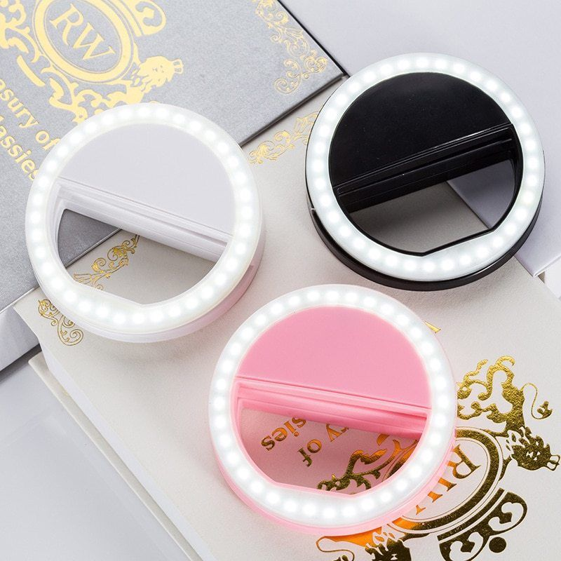 Portable  Phone LED Self-timer Flash Lens Beauty Make-up Light Self-timer 3-level Dimming Brighten Skin Tone Night Self-timer