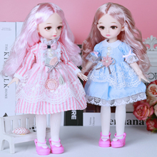 30cm Princess BJD Doll Little Girl Cute Dress 15 Movable Jointed Dolls Toys Fahion Dress Beauty BJD Hair DIY Toy Gift for Girls free shipment royal princess 1 4 18 bjd sd girl long implanted hair dolls baby american girl bjd doll with dress and shoes