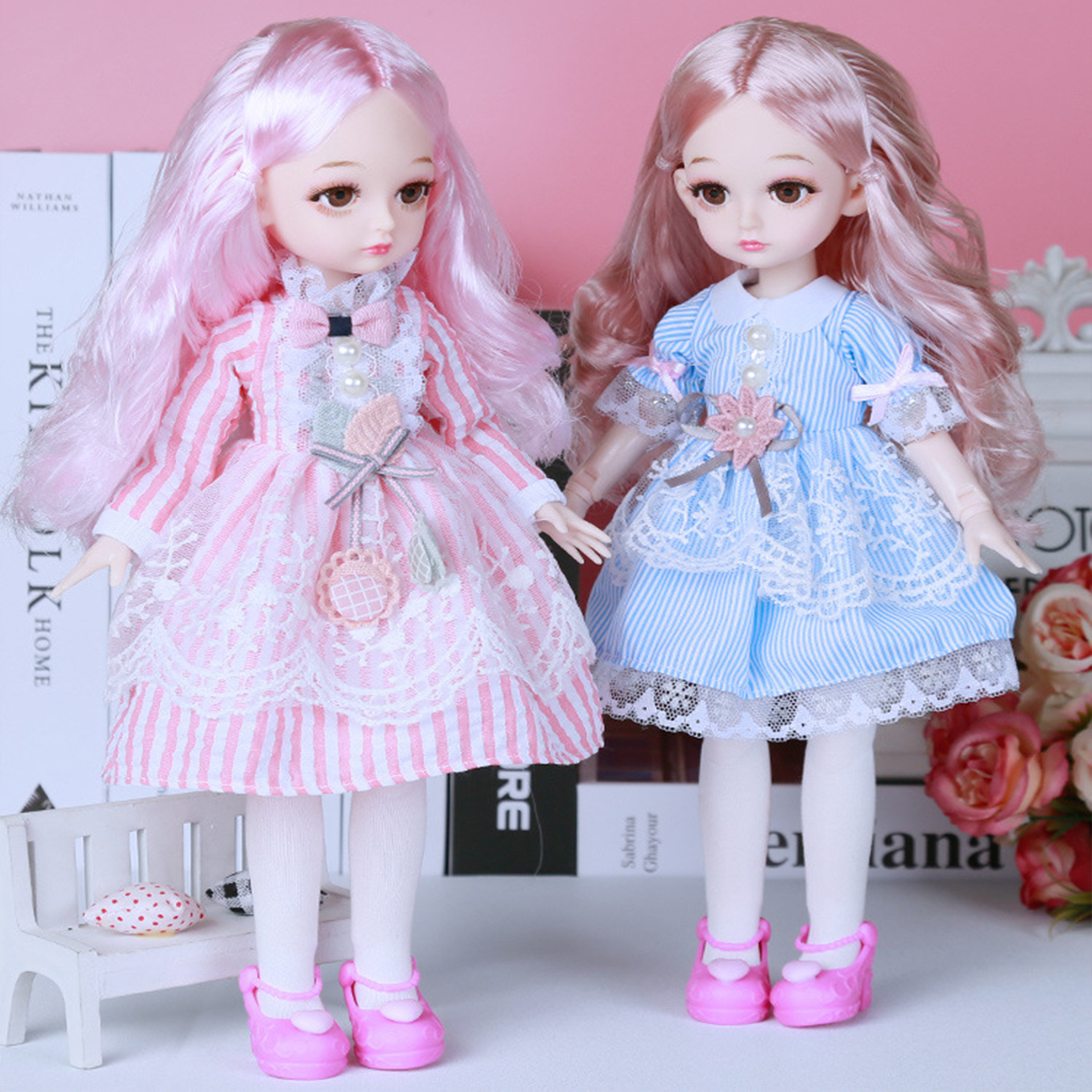 30cm Princess BJD Doll Little <font><b>Girl</b></font> Cute <font><b>Dress</b></font> <font><b>15</b></font> Movable Jointed Dolls Toys Fahion <font><b>Dress</b></font> Beauty BJD Hair DIY Toy Gift <font><b>for</b></font> <font><b>Girls</b></font> image