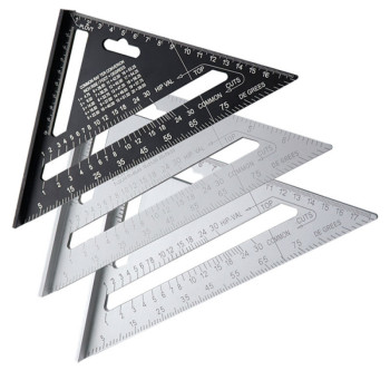 7'' Triangle Angle Protractor Aluminum Alloy Speed Square Measuring Ruler Miter for Framing Building Carpenter Measuring Tools 1pc 12 angle frame tri square ruler aluminium roofing rafter carpenter wood working measuring tools