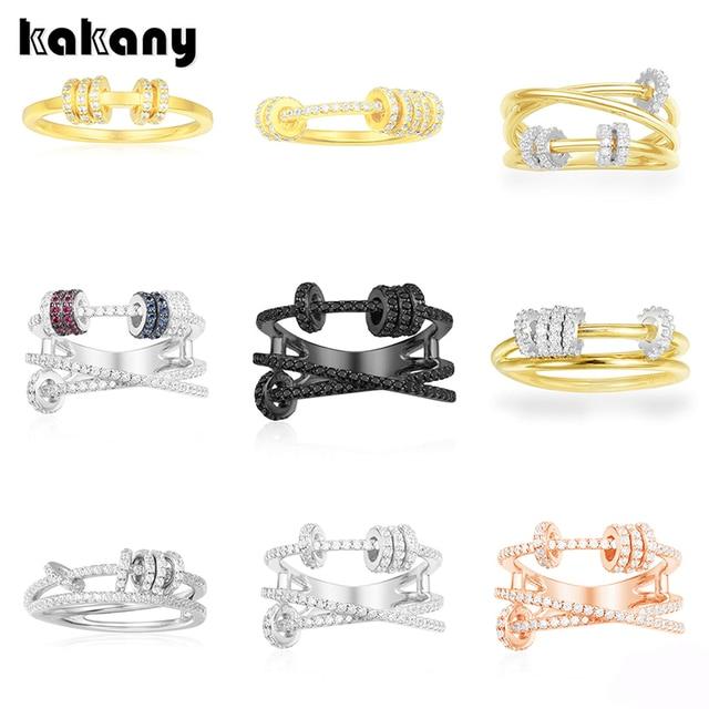 KAKANY הזוהר מסוגנן העתק של גבוהה איכות מקורי קסמי, לשלושה גבוהה סוף טבעת עם טבעת להחליק, עבור נשים של מונקו תכשיטים