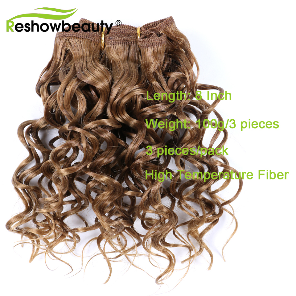 Synthetic Hair Bundles 3 Pieces/Pack Curly Hair Extensions Bundles High Temperature Fiber Hair Extensions Reshowbeauty
