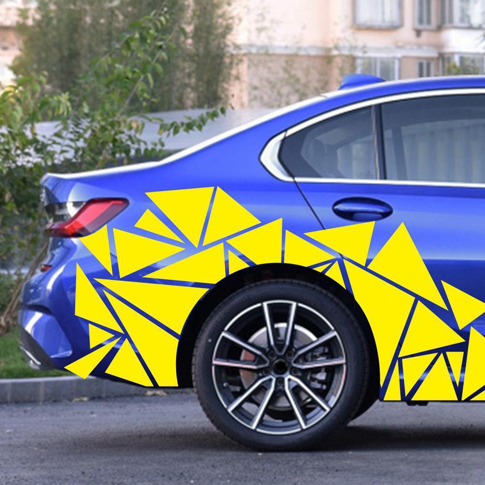 200 60cm x 60cm pegatinas de coche negro mate triángulos coche pegatina lateral camuflaje coche-estilo de calcomanía de decoración de vinilo para la decoración del coche