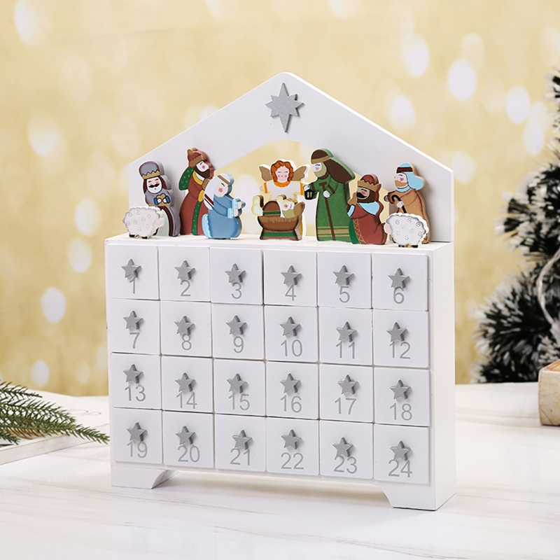 Wooden Advent Calendar Countdown Christmas Party Decoration 24 Drawers Ornament