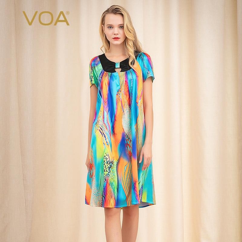 американский голос: круглый воротник короткие свободно путешествовать шелк женский летний солнечный платье женское платье платье платье ж