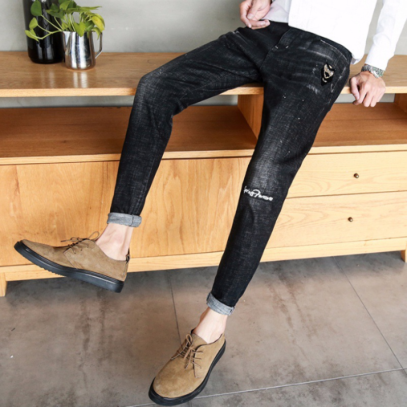 Embroidered Jeans Men's Korean-style Trend Summer Loose-Fit Spring And Autumn Summer Thin Section Skinny Pants Fashion Man Pants