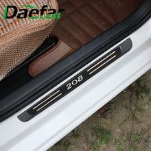 Daefar – autocollant de décoration de plaque de seuil de porte de voiture en acier inoxydable, accessoires pour Peugeot 208 2012 – 2020 4