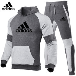 Adidas Winter New Men And Women Hoodie Tracksuit Sweatshirt+Sweatpants Fashion Jogging Pure Cotton Loose Sporting Suit