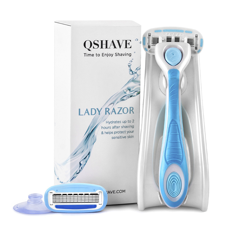 QSHAVE IT Lady Shaving 5-Blade Razor Women Bikini Hair Removal Blade Epilator Made In USA, Razor + 2 Cartridges + Holder + Stick