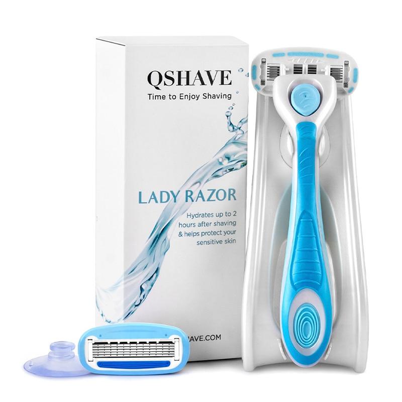 QSHAVE IT Lady Shaving 5-Blade Razor Women Bikini Hair Removal Blade Epilator Made In USA, Razor + 2 Cartridges + Holder + Stick