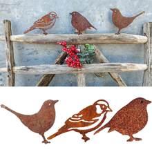 Figurines d'oiseaux en métal rouillé, décoration de clôture de jardin, pic, Robin en acier, décoration de jardinage artistique