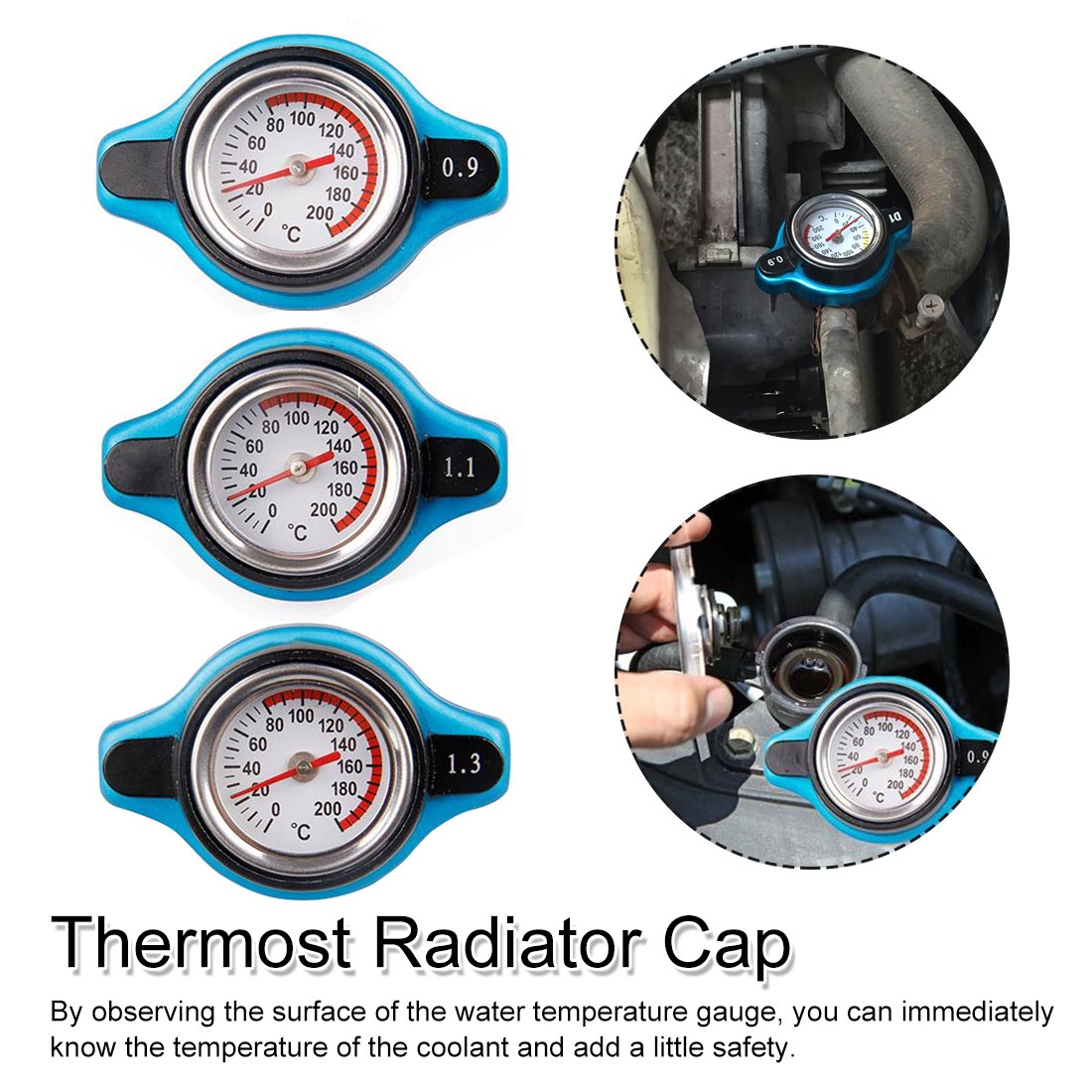 Automotive high pressure water tank cover Special water tank Resistant to 0.9/1.1/1.3bar radiator cover car radiator cap|Water Temp Gauges| |  - title=