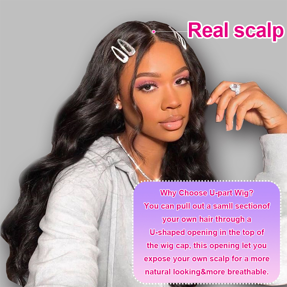 YYong 8-24inch U Part Wigs  Body Wave Natural Color  Wig  Easy Installed Breathable U Part Wig 2