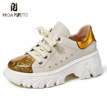 Prova Perfetto 2020 New Yellow Round Toe Sneakers Women Genuine Leather Rivet Color Matching Shoes Women Running Sapato Feminino