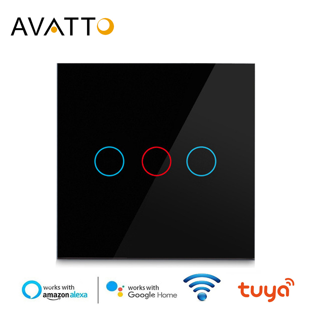 AVATTO Tuya EU/US <font><b>Wifi</b></font> Touch <font><b>Switch</b></font> with Glass Panel Touch-Sensor Smart Wall Light <font><b>Switch</b></font> 1/<font><b>2</b></font>/3 <font><b>Gang</b></font> Work with Alexa,Google Home image