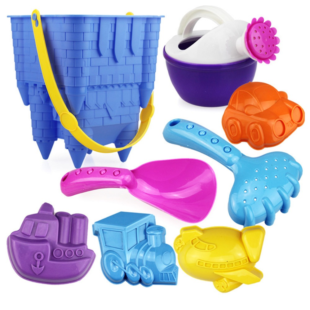 8Pcs Castle Beach Toy Set Castle Bucket Shovel Children Sand Play Set Safety Plastic Fancy Toys Color Random Kids Sand Sea Toys