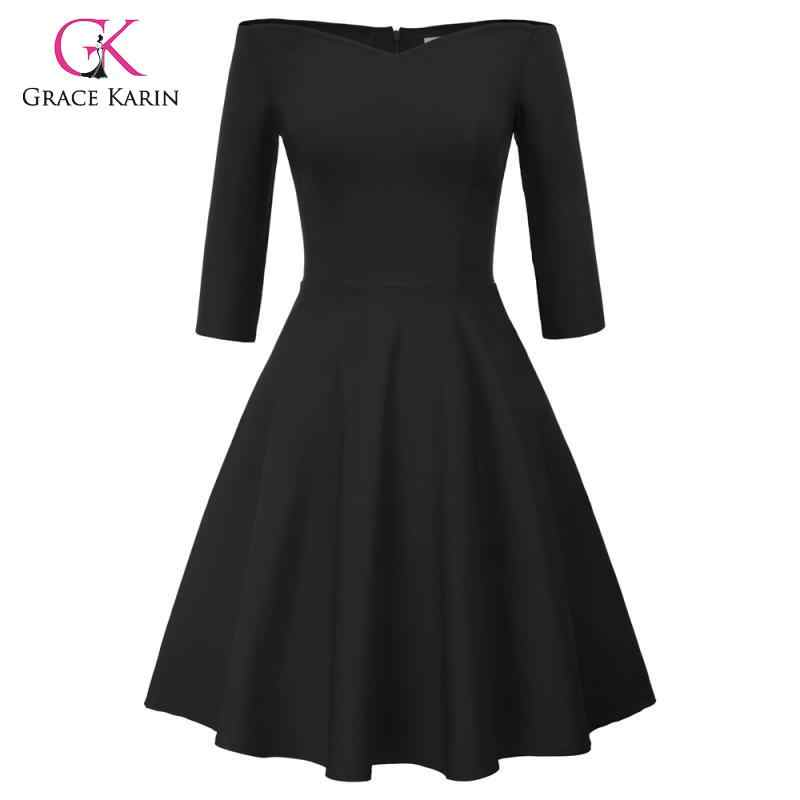 Grace Karin 3/4 Mouwen Off Shoulder Plisse A-lijn Jurk Vrouwen Vintage 50 S 60 S Big Swing Party Jurken Rockabilly midi Jurk