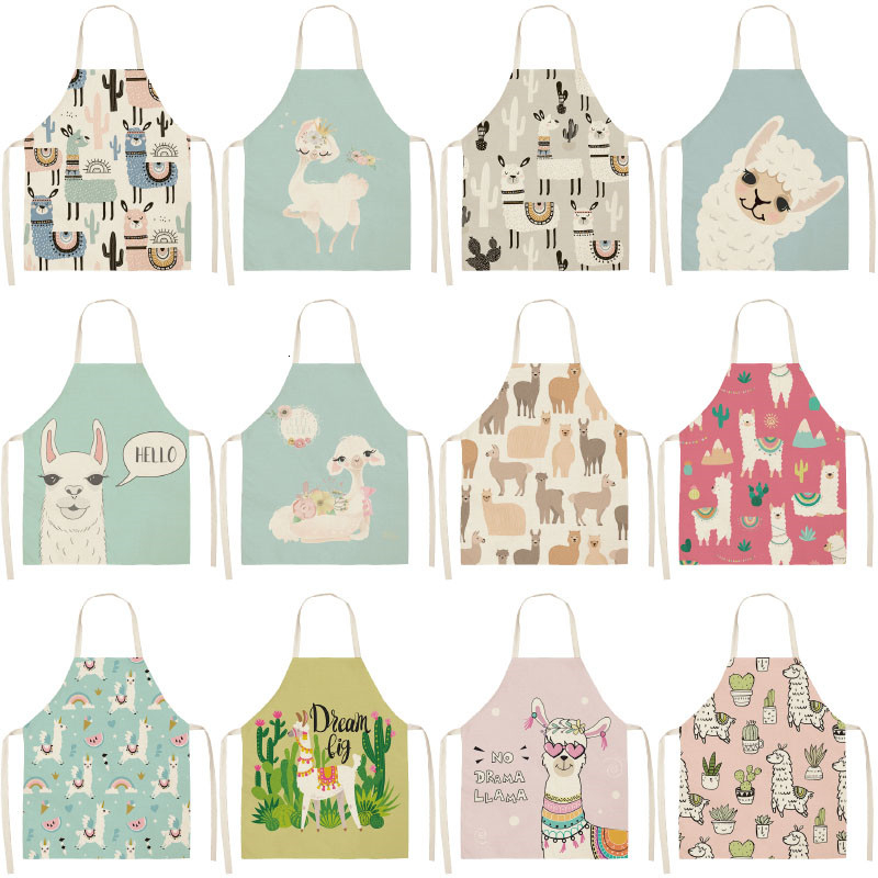 Cute Alpaca Cactus PrintedCotton Linen Sleeveless Aprons Kitchen Women Pinafore Home Cooking Baking Waist Bib 53*65cm WQL0149