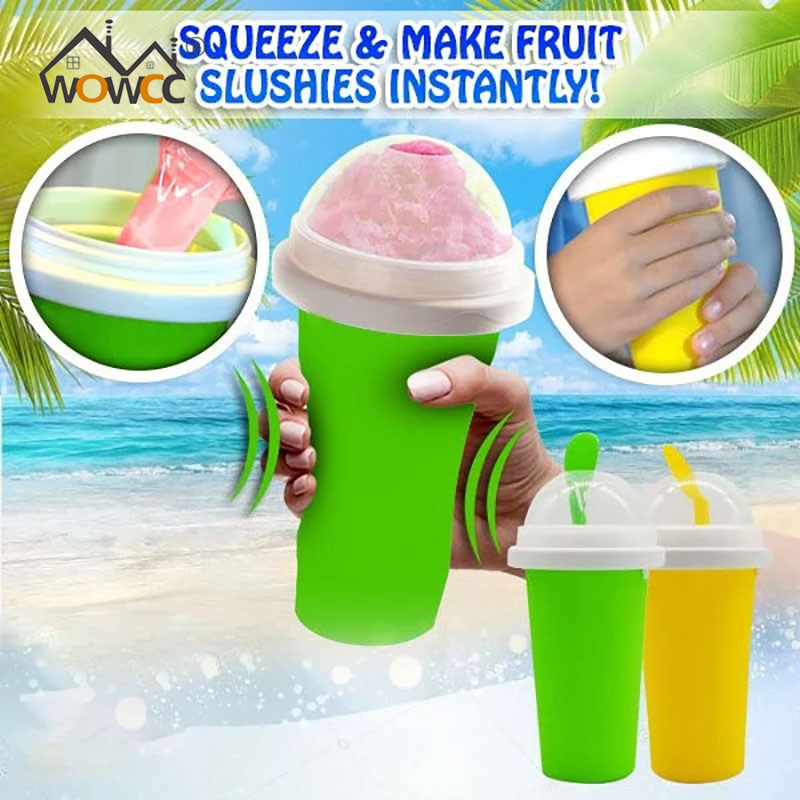 WOWCC 2020 Squeazy Slushy Maker Cup Smoothie Cup Silicone Children's Favorite 301-400ML Summer Limited