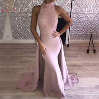 Pink Mermaid Long Evening Prom Dresses 2020 Sleeveless Beading Sequined Satin Floor Length Tail Formal Party Gowns Appliques