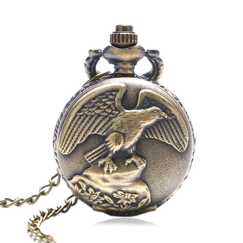 Купить с кэшбэком Antique Eagle Design Fob Quartz Pocket Watch With Necklace Chain Hot Sale Pendant Gift for Male Female Gift for Pocket Watch