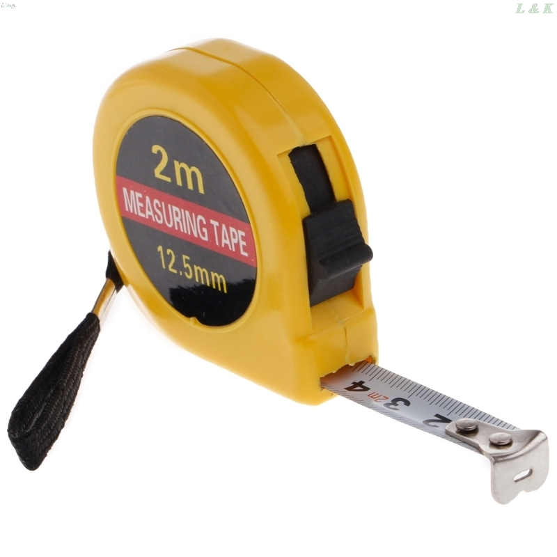 Multifunction Yellow Case 2 Meter Mini Pocket Tape Ruler Measure Accuracy 1mm L29K