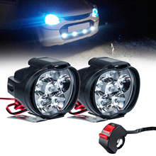 2 Pièces 10W Led Motos Phare Lumineux Superbe Blanc 6LED Travail Spot Moto Brouillard Lampe 1500LM LED Scooters Projecteur