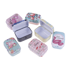 Medicine Case Boxes Pill-Box Coin-Headphones Travel Metal Small Mini Packing Flamingo