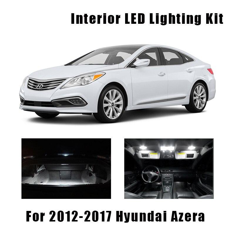 6pcs White Bulbs Car LED Interior Trunk Cargo Light Kit Fit For Hyundai Azera 2012-2015 2016 2017 Glove Box License Plate Lamp