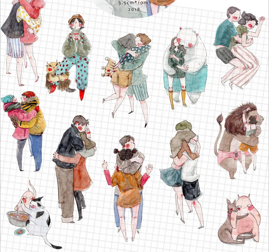WOKO 35mm*10m Hug Between Lovers Sticker Warm Embrace Cartoon Character Deco Washi Tape DIY Scrapbooking Masking Tape Escolar