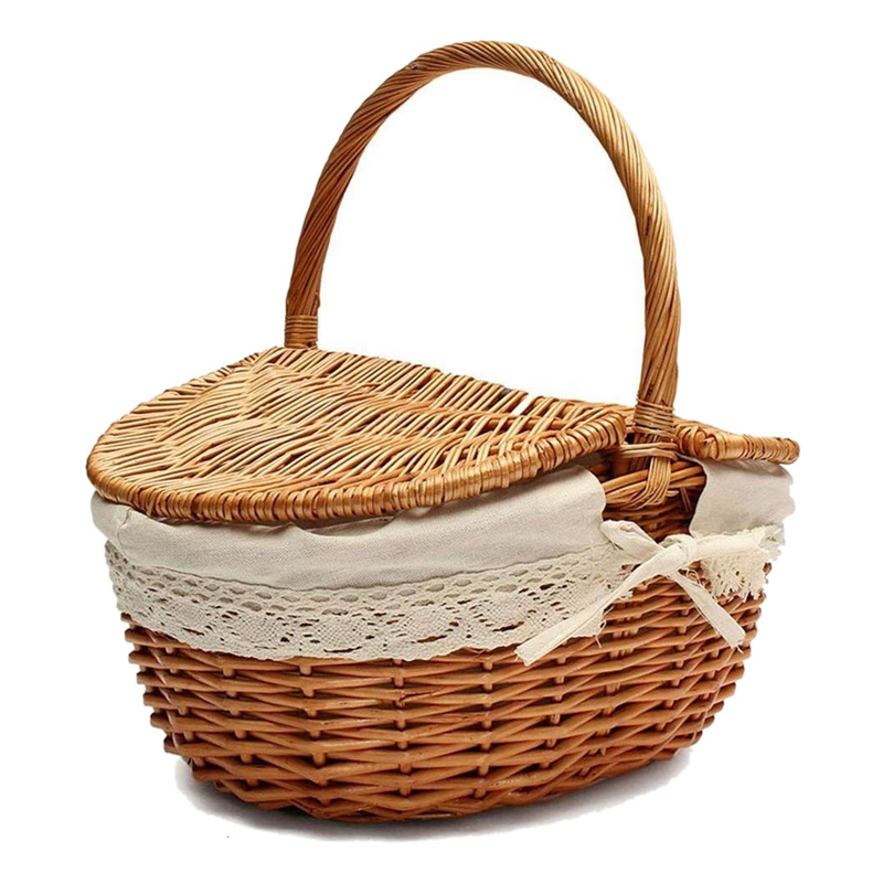 Handmade Wicker Basket with Handle  Wicker Camping Picnic Basket with Double Lids  Shopping Storage Hamper Basket with Cloth Lin|Storage Baskets| |  - title=