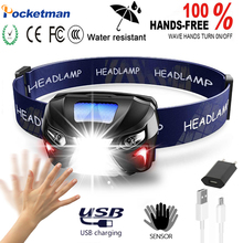 Powerful LED Headlamp Body Motion Sensor Rechargeable Running head flashligh Camping Hiking fishing Torch Light Lamp With USB