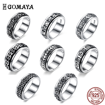 GOMAYA 925 Sterling Silver Rings Rotate Carving Flower Gothic Vintage Rock Punk Ring For Men And Women Wedding Fine Jewelry