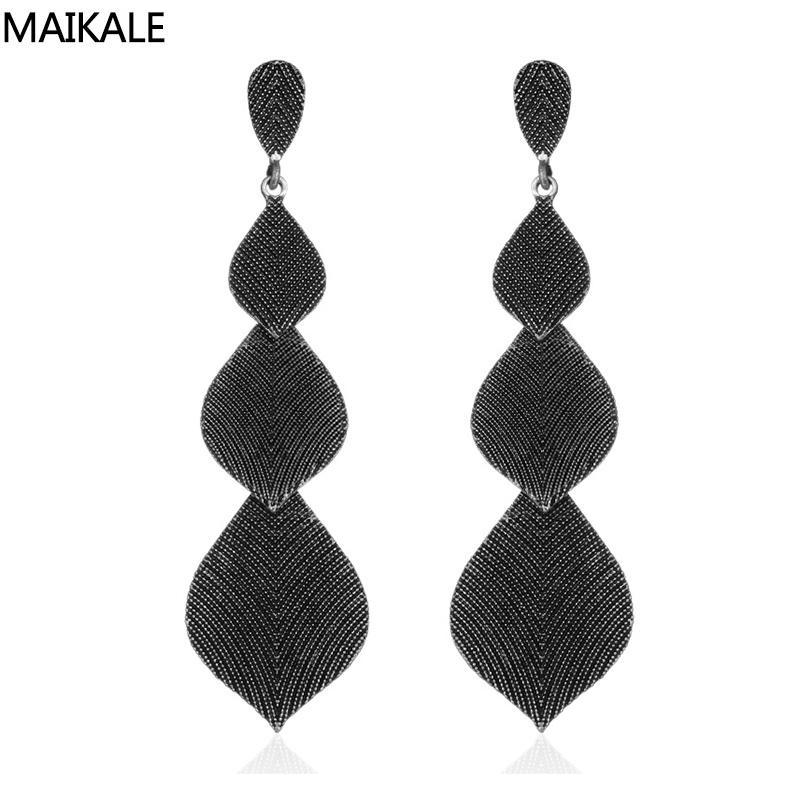 MAIKALE Hot Sale Alloy Leaf-Shaped Long Drop Earrings BlACK Color Simple Tandem Fashion Korean Earrings For Women To Friend Gift