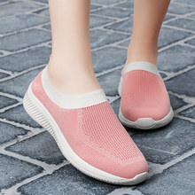 Sock Sneakers Flat Shoes Women Shoes Slip on Platform Sneakers Women Casual Black Breathable Mesh Sock Big Size 2020 New(China)