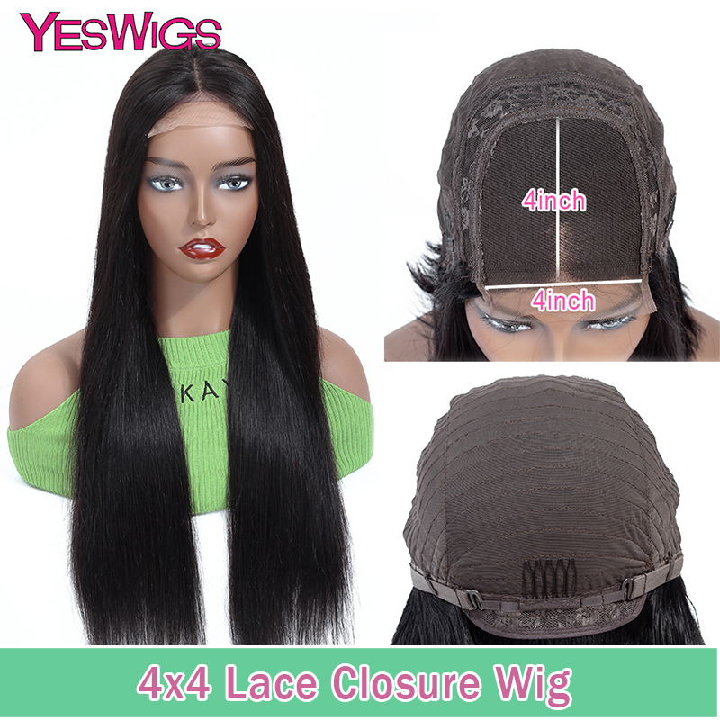 Yeswigs 4x4 Lace Closure Wig Long Straight Human Hair Wigs For Black Women Remy Brazilian Hair Wig Natural Color