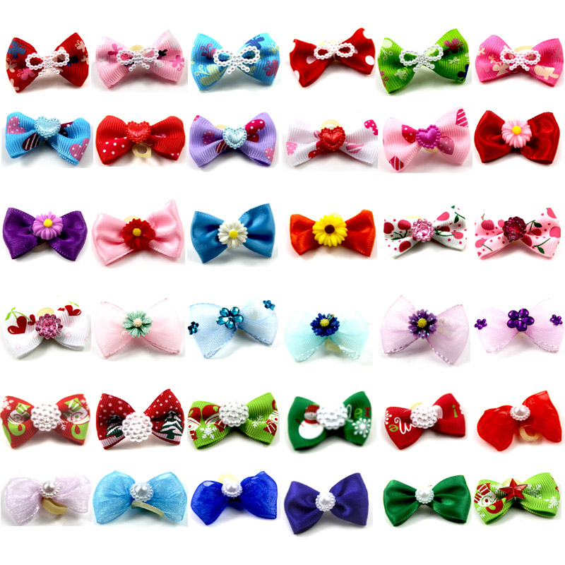 Cute Ribbon font b Pet b font Grooming Accessories Handmade Small Dog Cat Hair Bows With