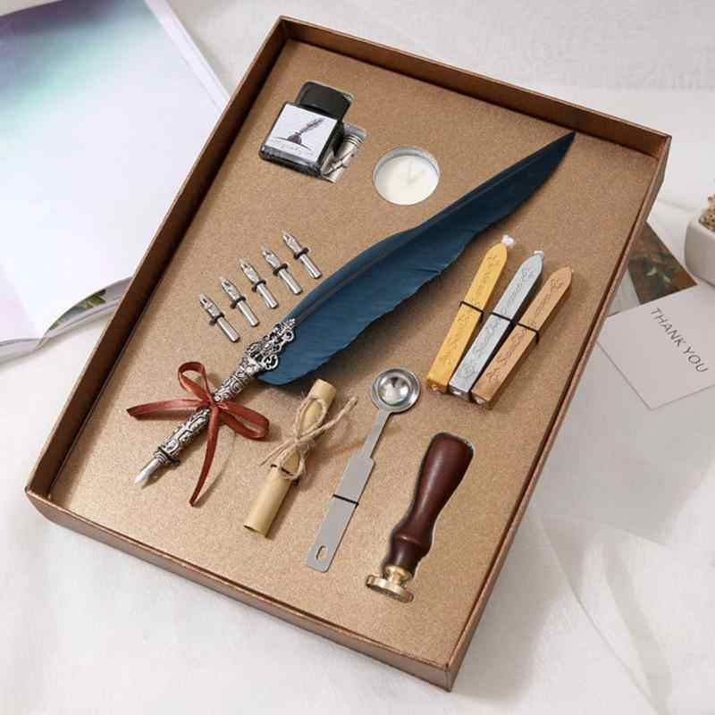 1 Set Retro Vintage Englisch Kalligraphie Feder Dip-Pen Schreiben Tinte Set Schreibwaren Quill Brunnen Stifte Geschenk Box Für Kinder student