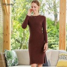 Women O-neck Knit Long Dress 100 Cashmere Side Slit Allover Ribbed Sheath 2019 Winter Sweater Dress Soft Long Knitwear Sweaters недорого