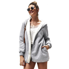 New Fashion Women Winter Thicken Coats Long Sleeve Warm Jacket Outerwear Zipper Sweater hooded jacket women
