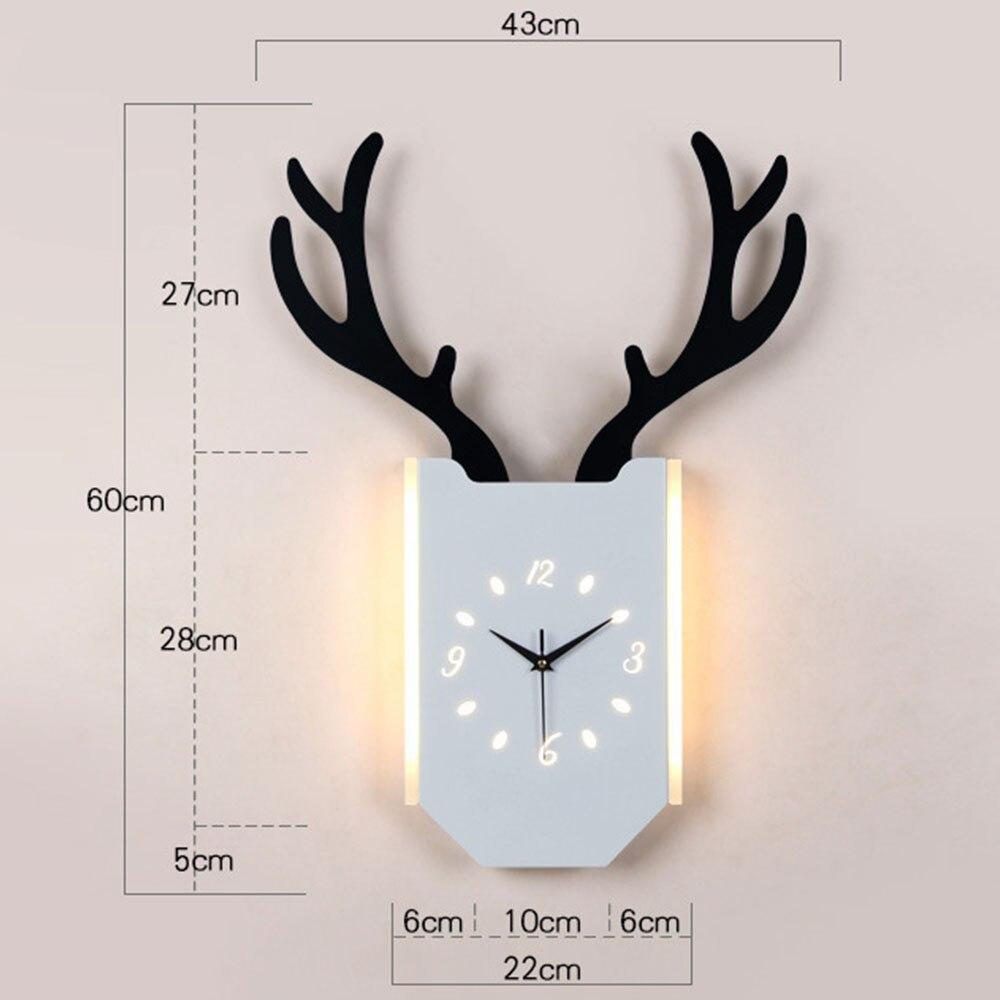 18 Вт скандинавские рога настенные часы лампа Современная гостиная прикроватные часы для спальни настенный светильник Внутреннее освещени... - 2