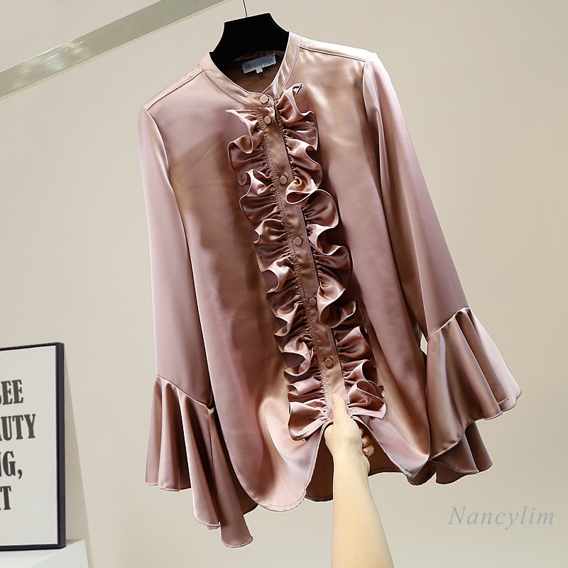Long Shirt Women Sweet Pleated Fungus Stitching Vintage Lotus Leaf Bell Sleeve Single-Breasted Irregular Long Mid-Length Blouse