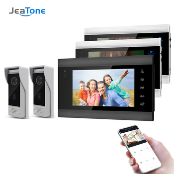 Jeatone 7 Inch Wireless Wifi Smart IP Video Door Phone Intercom System with 3 Night Vision Monitor + 2 Rainproof Doorbell Camera tmezon 7 inch tft wired smart video door phone intercom system with 3 night vision monitor 2x1200tvl rainproof doorbell camera