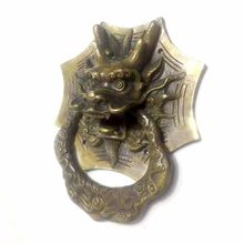 1Pcs Vintage Brass Die Casting Dragon Head Door Knocker Solid Wood Villa Courtyard Gate Ring Door Handle Pulls Knob Decoration(China)