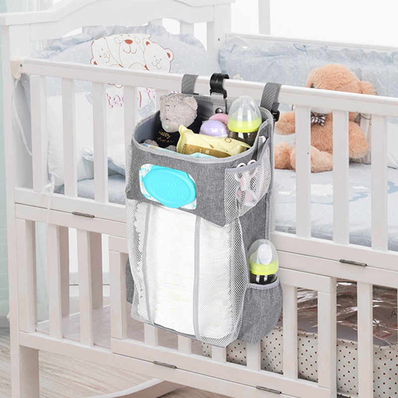 Hot Baby Crib Storage Bag Breathable Mesh Infant Clothes Holder Diaper Organizer