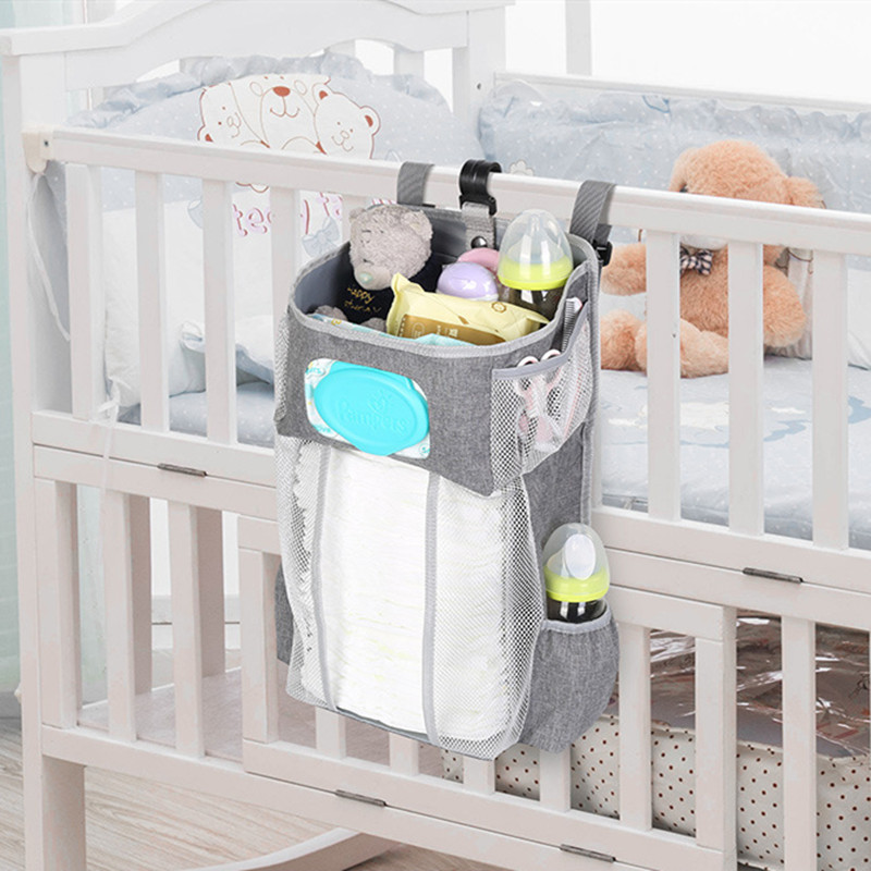 Portable Baby Bedding Cloth Storage Rack Cradle Newborn Crib Bed Hanging Bag Inafnt Bedside Nappy Diaper Partition Organizer Bag