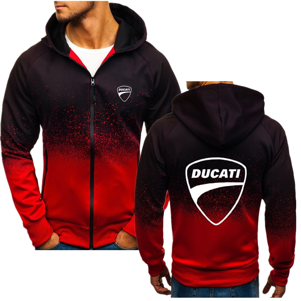 Male Wild Ducati Car LOGO Hoodies Thicken Fitness Zipper Gradient New Comfortable Korean Style High Quality Coat Fast Delivery