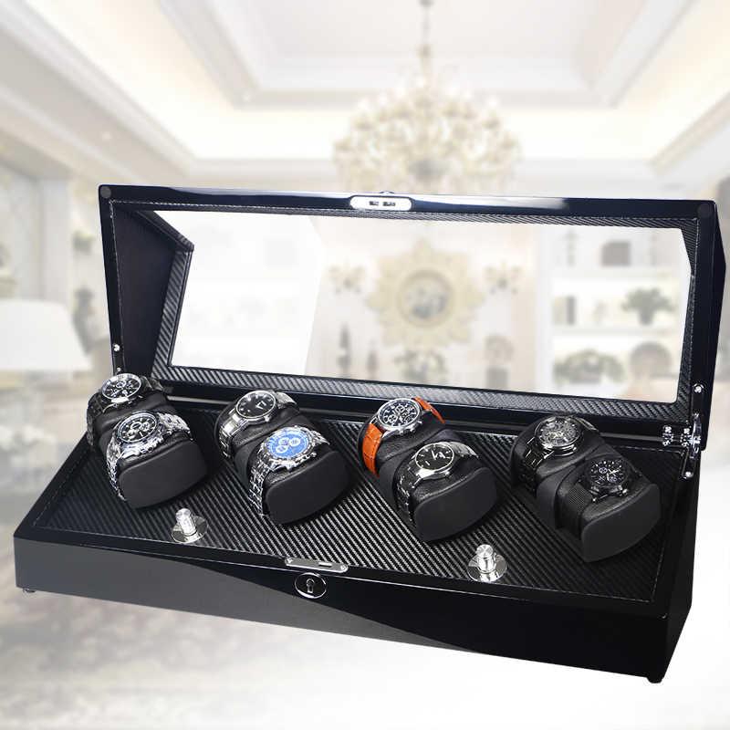 Uhr Box Wickler Fall Lagerung Shaker Display Automatische Holz Vier Motoren 8 Slots Watch Wickler Drehung Halter Organizer Klavier